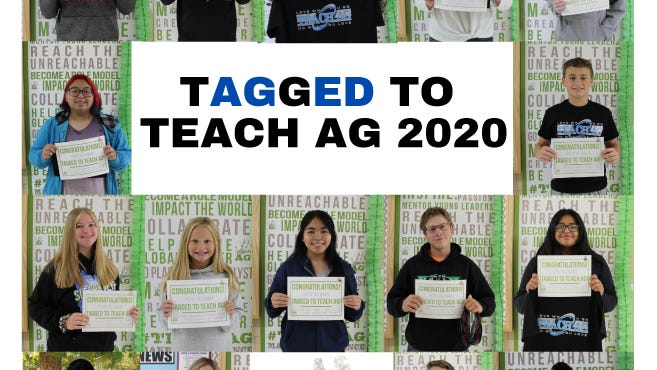 """Pictured are the students """"Tagged to Teach Ag"""" top row, from left: Jake Price, Mason Sellner, Kegan Heiderscheidt, McKenna Strong, and Jacob Ulrich. Row two: Envy Morales and Isaac Lendt. Row three: Sophie Kyllonen, Nora Coulson, Katelyn Capacia, Taylor Lambrecht, and Leisha Martinez. Bottom row: Brandon Flores, McKenna Dockter, Winsten Nienhaus, and Presley Bauer."""