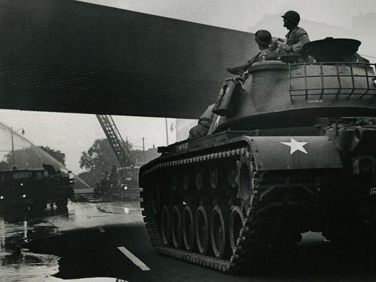 Tanks take to the streets during the Detroit Riot in1967.