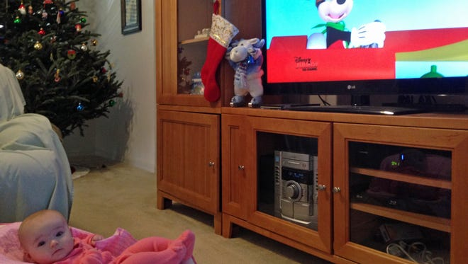 "Isabella loves sitting in her comfy chair and watching the Mickey Mouse Clubhouse. As the intro song states, ""Come inside, it's fun inside."""