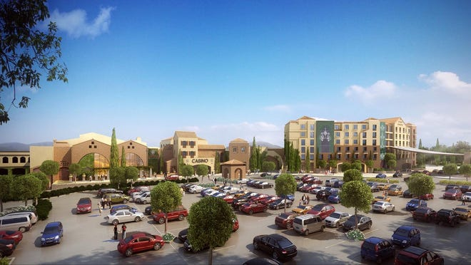 Construction on the $425 million Lago Resort & Casino, in Tyre, Seneca County was halted this month. This artist's rendering shows what the facility would look like if it is completed.