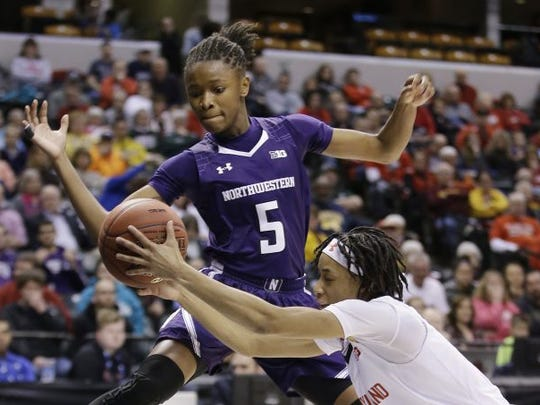 Jordan Hankins (5), shown playing for Northwestern during a 2016 game, died from suicide in her dorm room on Jan. 9, 2017. Hankins played with FGCU senior Destiny Washington at Lawrence North High School in Indianapolis, Indiana. The two played started playing basketball together in elementary school.