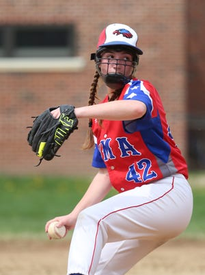Madison Allen, a freshman and a pitcher for the Yonkers Montessori Academy baseball team, pitches against Woodlands during their game, April 29, 2017. She pitched five innings and did not allow an earned run with seven strikeouts for her second varsity win. YMA won the game 13-4.