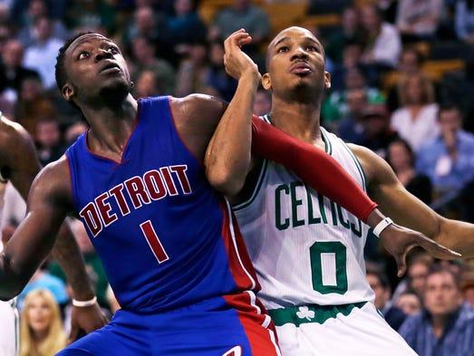Pistons guard Reggie Jackson (1) and Celtics guard