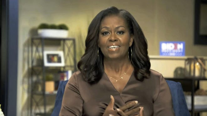 In this image from video, former First Lady Michelle Obama speaks during the first night of the Democratic National Convention on Monday.
