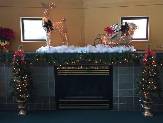 New decorations on the fireplace mantle at the public