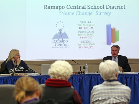 From left, Ramapo Central school board President Theresa
