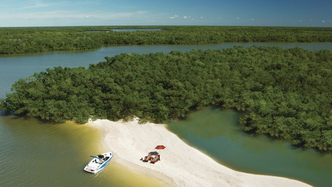 Boaters and shell seekers find many deserted stretches of sand in the Ten Thousand Islands off Marco Island in Collier County.