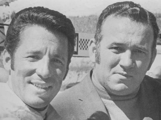 The Star's Bob Collins with 1969 Indy 500 champ Mario Andretti in 1970.
