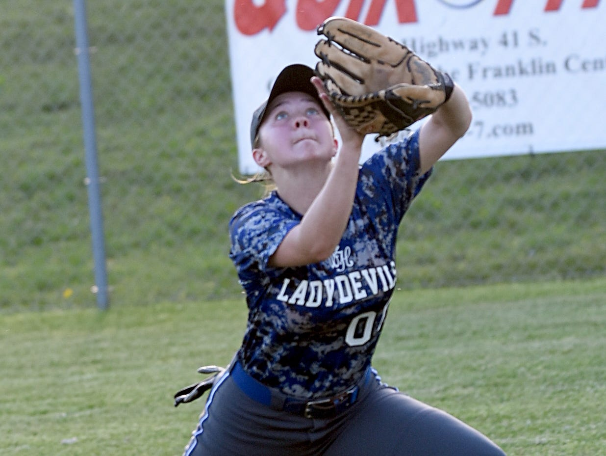 White House High freshman Grace Fillmore pursues a fly ball during the sixth inning of Wednesday evening's 7-2 win over Westmoreland