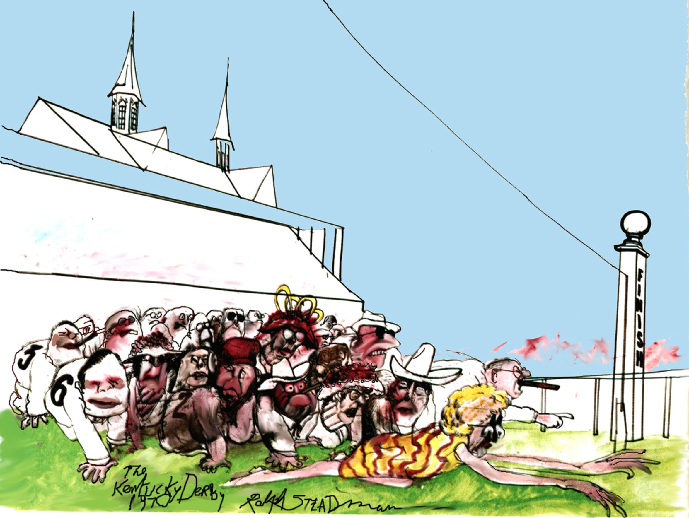 """""""Kentucky Derby Finish,"""" an illustration from Ralph Steadman."""