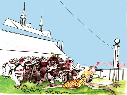 """Kentucky Derby Finish"" illustration from artist Ralph"