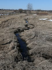 Waterway used to channel farm field tile runoff in rural Calhoun County near Lake City.