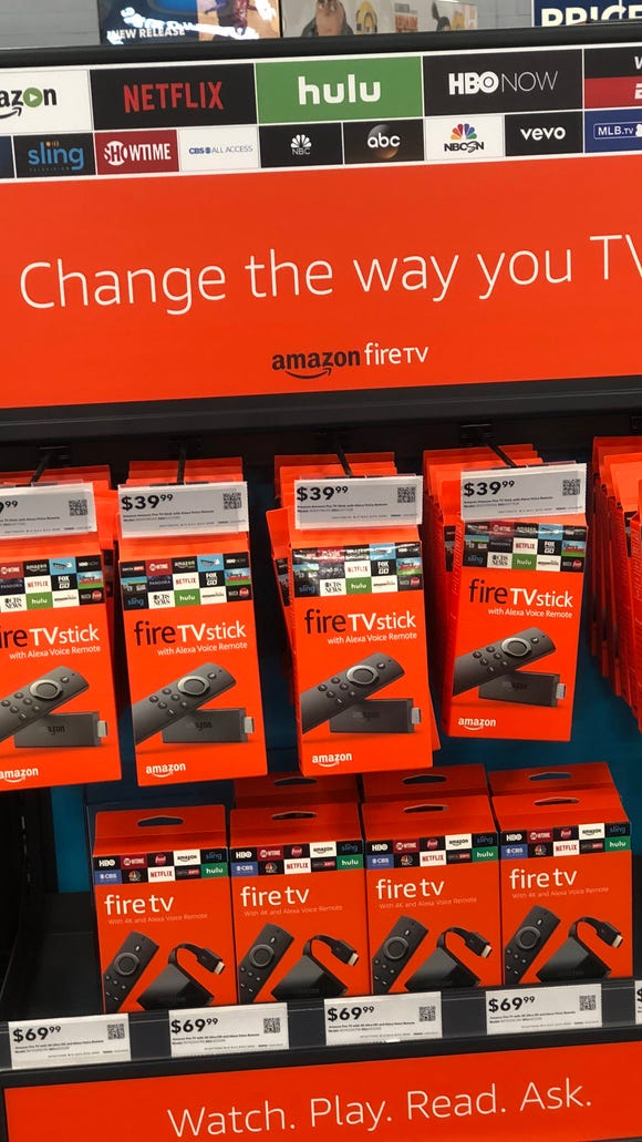 An Amazon FireTV display at a Los Angeles Best Buy
