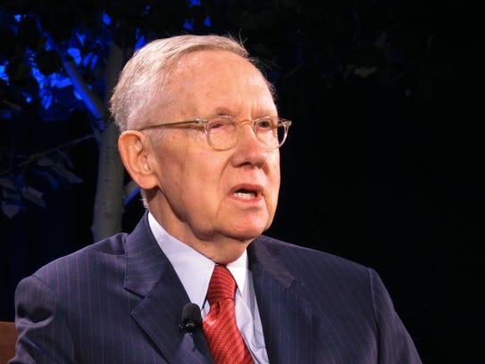 Former Senate Democratic leader Harry Reid speaks during