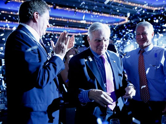 Nick Buoniconti, center, attends the 32nd Annual Great Sports Legends dinner to benefit the Miami Project/Buoniconti Fund to cure paralysis at New York Hilton Midtown on Sept. 25, 2017, in New York.