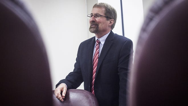 Delaware County Prosecutor Jeffrey Arnold in the grand jury room adjacent to his office in 2014.