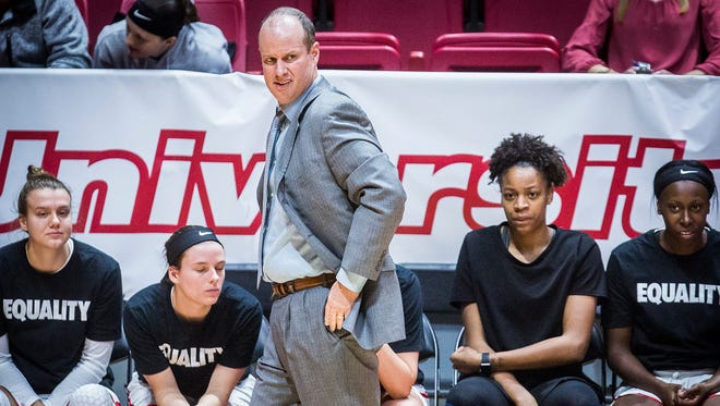 Ball State head coach Brady Sallee at Worthen Arena Wednesday, Nov. 29, 2017.