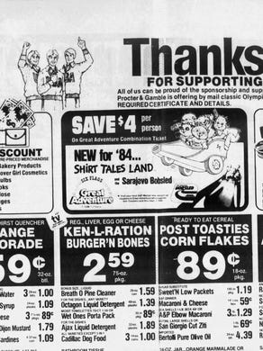 1984: The July 8, 1984 edition of the Asbury Park Press featured an A&P ad that promoted the new Shirt Tales Land at Six Flags Great Adventure.