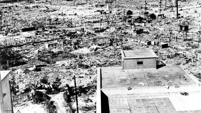 """The destroyed city of Hiroshima, Japan is seen from the Red Cross hospital building located about one mile from the epicenter of the nuclear blast from the """"Little Boy"""" atomic bomb which was detonated by the U.S. on Aug. 6, 1945."""