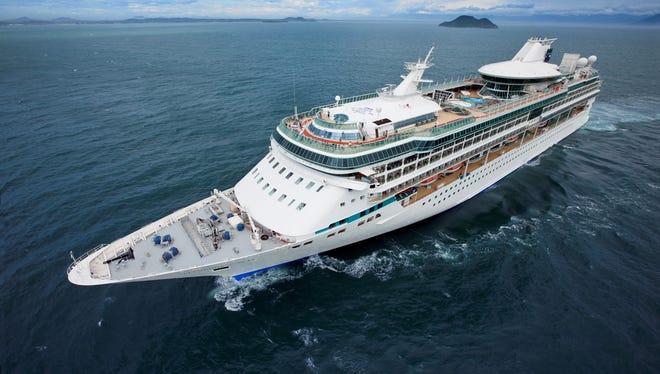 An aerial view of Royal Caribbean's Splendor of the Seas in Buzios, Brazil.