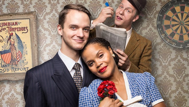 """Michael Manocchio, Tiffany Michelle Thompson and Nick Stockwell in the Hilberry Theatre's production of screwball comedy """"You Can't Take It With You."""""""