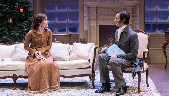 "Donnla Hughes stars as Mary Bennet and Paul Culos stars as Arthur de Bourgh in Ensemble Theatre Company's production of ""Miss Bennet: Christmas at Pemberley"" on stage through Dec. 17 at The New Vic Theatre in Santa Barbara."
