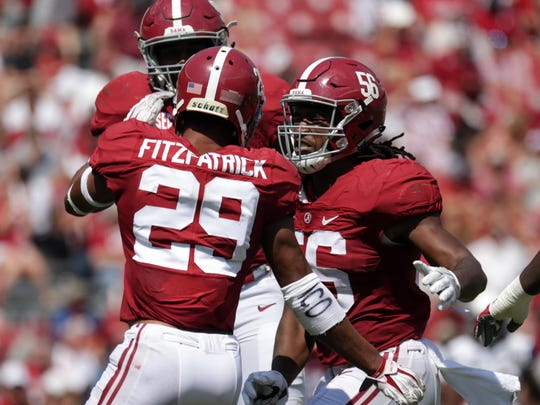Alabama Crimson Tide LB Tim Williams (56) and DE Minkah