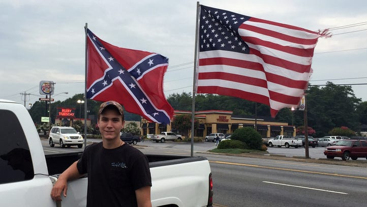 Andrew Duncan, 17, of Easley, S.C. outside his pickup