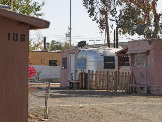 Some of the homes at Mesa Royale mobile home park in