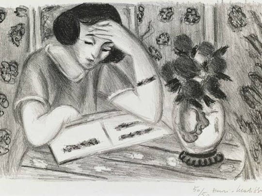 """Reader with Bouquet of Roses,"" 1925 lithograph on paper by Henri Matisse. The print, a gift of Gertrude A. Goodman, is part of the El Paso Museum of Art collection. ©2016 Artists Rights Society, New York"