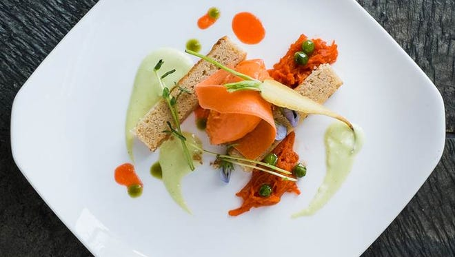 The Peas & Carrots dish at Kelly Liken in Vail, Colo. Among the desserts Kelly Liken and pastry chef Colleen Carey have come up with are Peas & Carrots, a concoction that includes brown butter financier, with a sauce of English peas alongside carrot sorbet and carrot marmalade.
