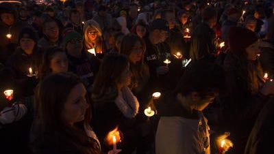 Scene from the vigil for Officer Tyler Stewart.