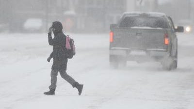 Snow was exptected to continue off and on through Tuesday.