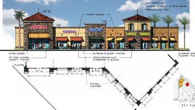 A rendering of the planned Indian Point shopping center retail building, which could house up to five tenants. The center would be developed in Indian Wells, near the Tennis Garden.