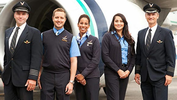 Alaska Airlines current uniforms, seen here, are set