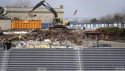 The old press box is demolished at Banta Bowl.
