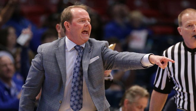 Mar 10, 2017; Birmingham, AL, USA; Middle Tennessee Blue Raiders head coach Kermit Davis reacts during the Conference USA Tournament against UTEP Miners at Legacy Arena. Middle Tennessee Blue Raiders defeated the UTEP Miners 82-56. Mandatory Credit: Marvin Gentry-USA TODAY Sports