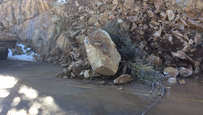 Rockslide south of Prescott is causing delays on State route 89 on Dec. 28, 2016.
