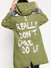 Jacket by Zara from the Spring-Summer 2016 collection, with 'I really don't care do U?' slogan, was worn by first lady Melania Trump on June 21, 2018 during a visit to Texas to meet children taken from their parents at the U.S.-Mexico border. The jacket is no longer available at Zara.com.