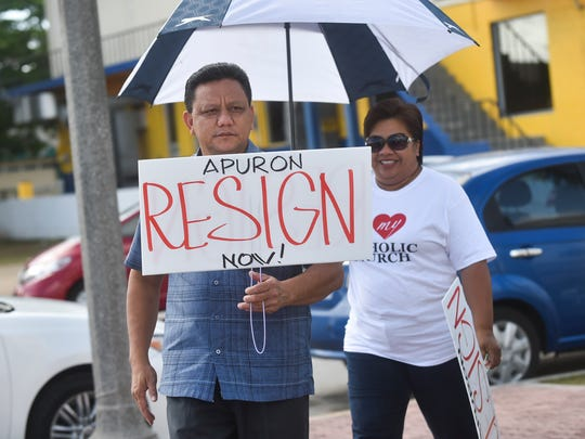 Agat resident Roland Sondia participates in a protest against Archbishop Anthony Apuron at Dulce Nombre de Cathedral Basilica in Hagatna on June 19.