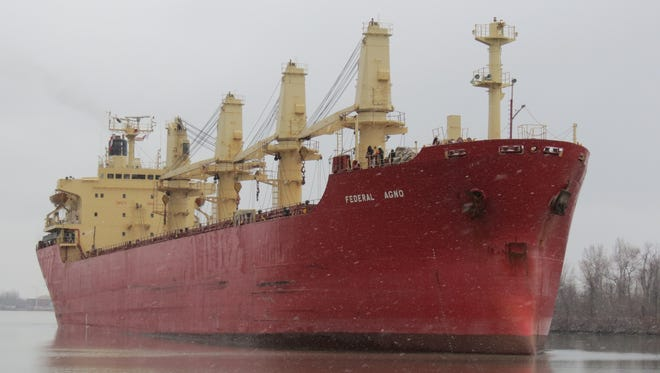 Federal Agno upbound in the Welland Canal in light snow on Dec. 10, 2102.