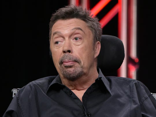 """Tim Curry participates in the panel for """"The Rocky Horror Picture Show"""" during the Fox Television Critics Association summer press tour on Monday, Aug. 8, 2016, in Beverly Hills, Calif."""