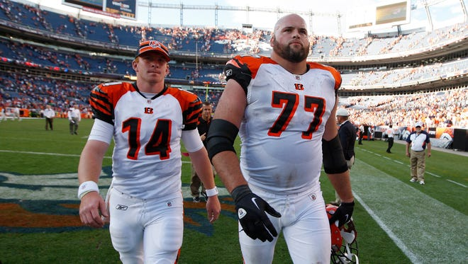 Bengals quarterback Andy Dalton (14) and tackle Andrew Whitworth