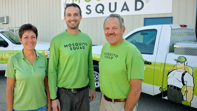 Mosquito Squad in St. Cloud is a family business. St. Cloud franchise owners include from left: Cindee Anderson, her son Ryan Fisher, and husband Mark Anderson.