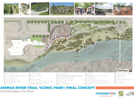 "A graphic created by Sites Southwest lays out the final concept for an ""iconic"" park being planned adjacent to the Farmington Museum at Gateway Park."