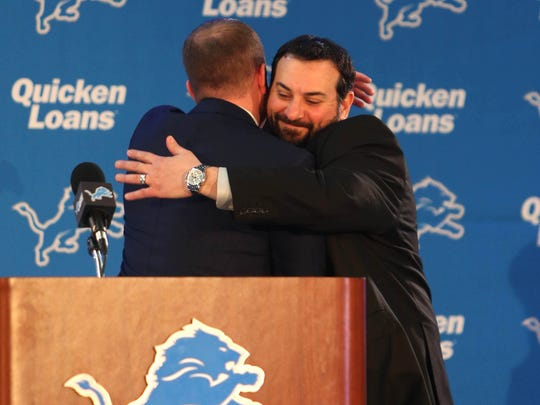 GM Bob Quinn introduces new Detroit Lions head coach Matt Patricia Wednesday, February 7, 2018 at the practice facility in Allen Park.