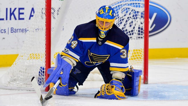 St. Louis Blues goalie Jake Allen (34) had a season ticket-holder as a backup in the earlier going of Thursday's game.