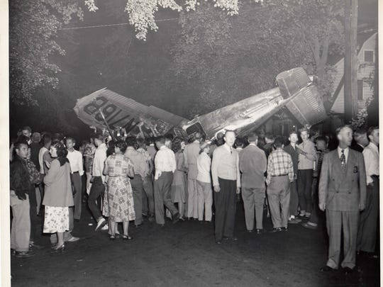 Teaneck Plane Crash in 1950 at the corner of Cherry Lane and Queen Anne Road .COURTESY OF TEANECK PUBLIC LIBRARY