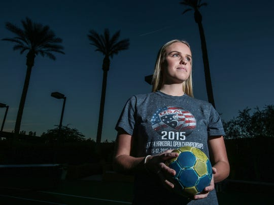 La Quinta High graduate Elina Linner is a hand ball prodigy with hopes of making it on to the US Olympic team. Photo taken near her La Quinta home on Tuesday, November 29, 2016.
