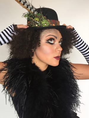 The Circus Skater, a look for 'Fantasies in Chocolate' pulled together by Isha Casagrande, owner of the Couture Closet. An accessory or dramatic makeup can help your outfit celebrate the bohemian circus theme of the evening.